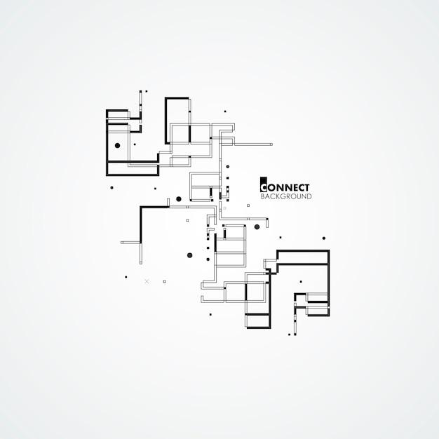 Line, square, circle elements Premium Vector
