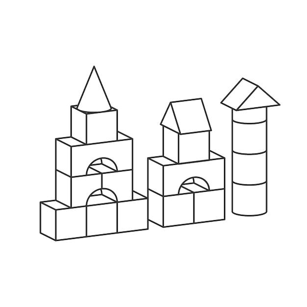 ラインスタイルは、塗り絵のおもちゃの塔をブロックします。レンガの子供たちの建物の建設、城、家。白い背景で隔離のボリュームスタイルの図 Premiumベクター