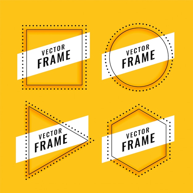 Line style frame set on yellow Free Vector