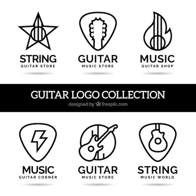 Line Style Guitars Logos Free Vector