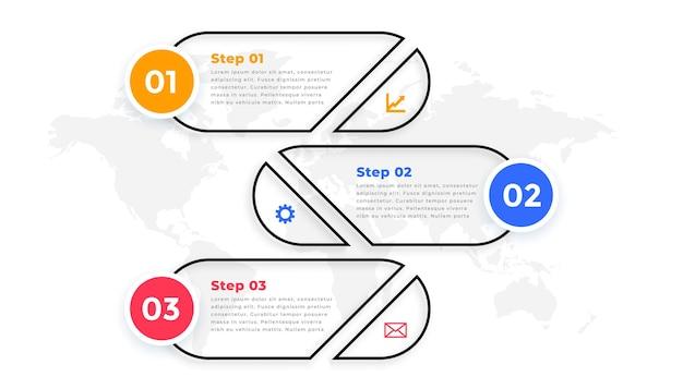 선 스타일 3 단계 현대 infographic 템플릿 무료 벡터