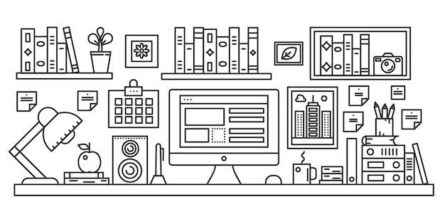 Line style workplace desk Premium Vector