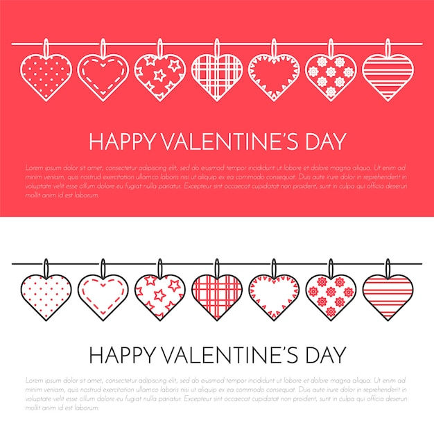 Line vertical banner for saint valentine's day and date theme. Premium Vector