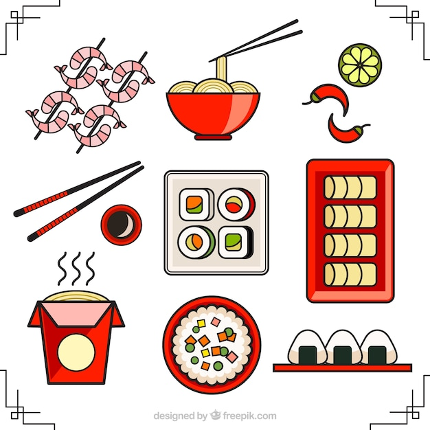 Lineal asian food collection Premium Vector