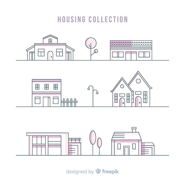 Lineal housing collectio Free Vector