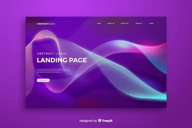 Lineal shapes landing page template Free Vector