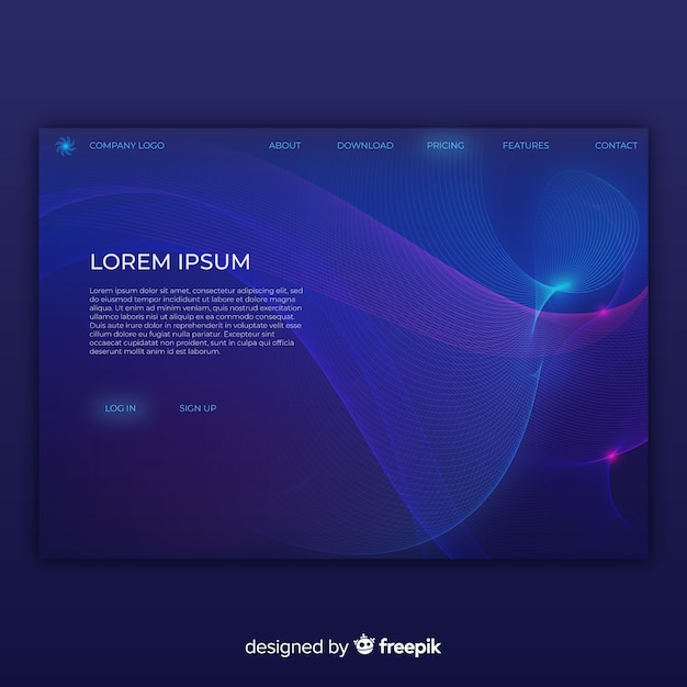 Lineal shapes landing page Free Vector
