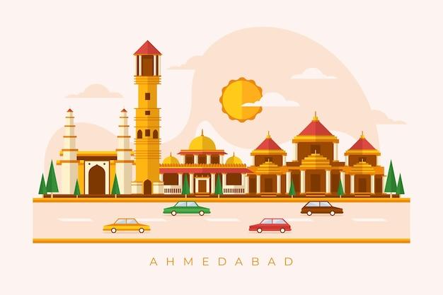 Линейный ахмедабадский горизонт Бесплатные векторы