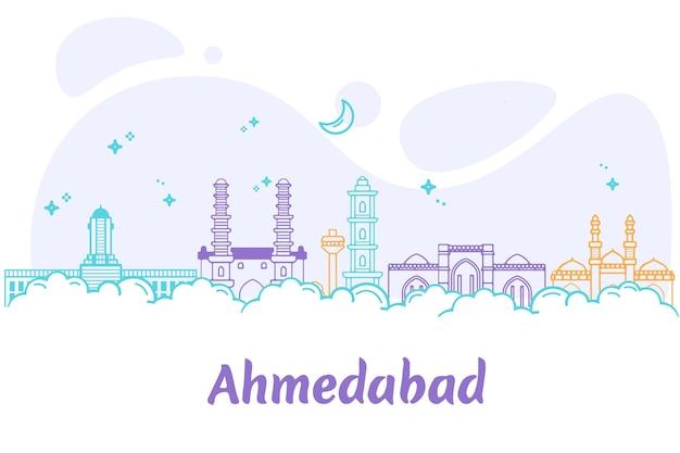 Линейный горизонт ахмадабада Бесплатные векторы