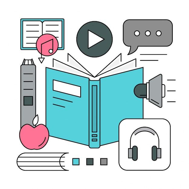 Элементы линейной аудио-книги Бесплатные векторы