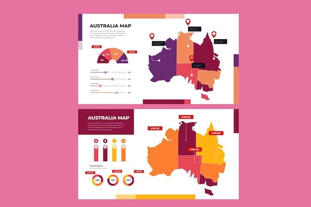 線形オーストラリア地図インフォグラフィック Premiumベクター