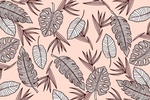 Linear background tropical leaves with pastel color Free Vector