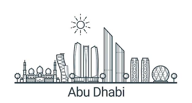 Линейное знамя города абу-даби. все здания - настраиваемые различные объекты с фоновой заливкой, так что вы можете изменить композицию для своего проекта. штриховая графика. Premium векторы