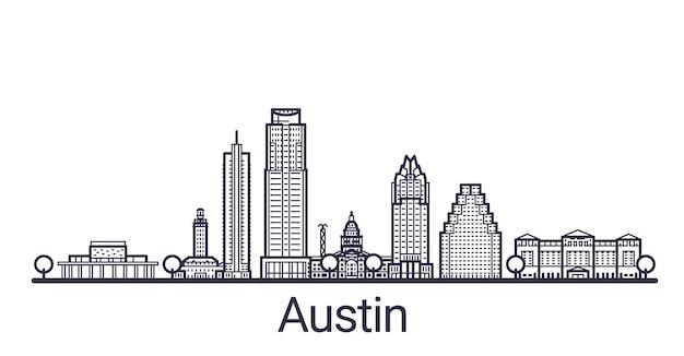 オースティン市の線形バナー。すべての建物-クリッピングマスクを使用してカスタマイズ可能なさまざまなオブジェクト。背景や構成を変更できます。線画。 Premiumベクター