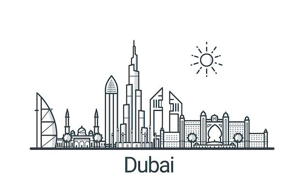 Линейное знамя города дубай. все здания - настраиваемые различные объекты с фоновой заливкой, так что вы можете изменить композицию для своего проекта. штриховая графика. Premium векторы