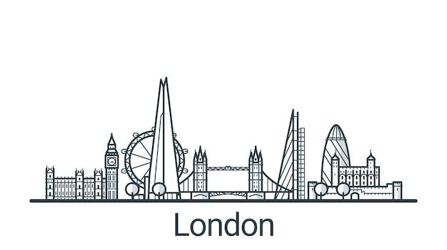 ロンドン市の線形バナー。すべての建物-背景が塗りつぶされたカスタマイズ可能なさまざまなオブジェクト。プロジェクトの構成を変更できます。線画。 Premiumベクター
