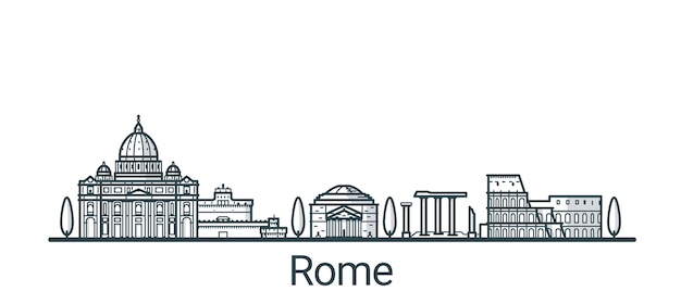 Линейное знамя города рима. все постройки Premium векторы