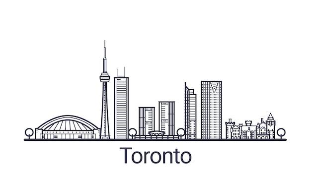 Линейный баннер города торонто в рисованной Premium векторы