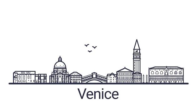 Линейный баннер города венеции в рисованной Premium векторы