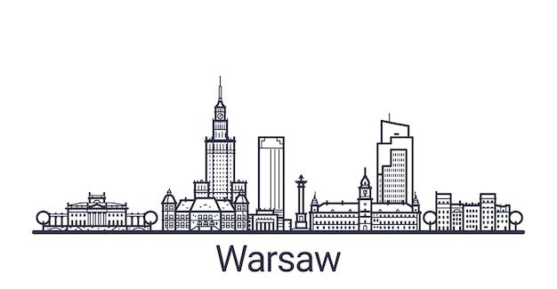 Линейное знамя города варшавы. все здания варшавы Premium векторы