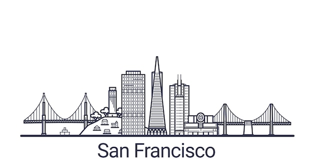 Linear banner of san francisco city. all san francisco buildings  art. Premium Vector
