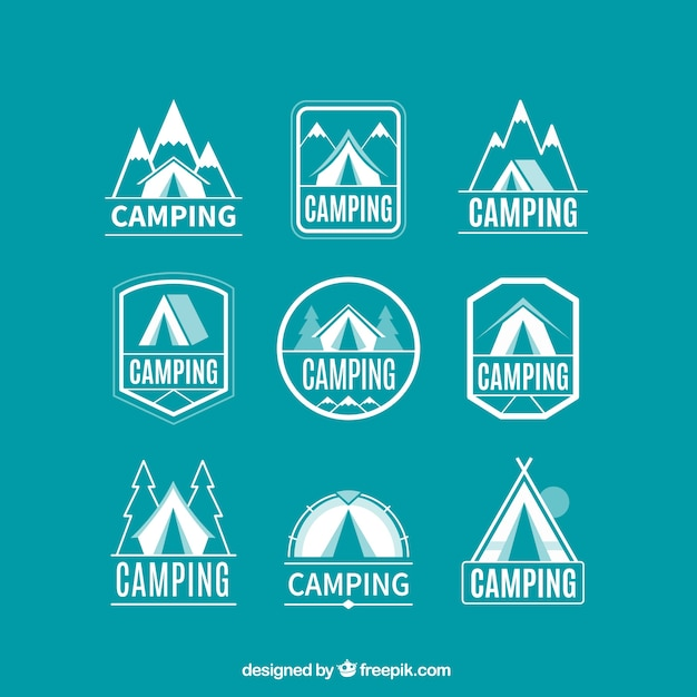 Linear campsite logotype collection Free Vector