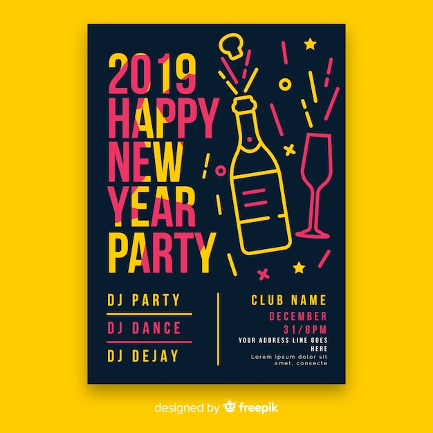 linear champagne new year poster template free vector
