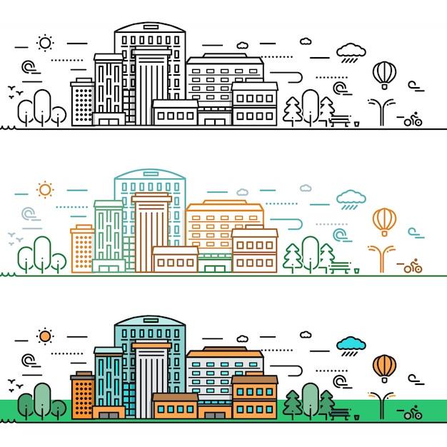 Concetto di paesaggio urbano lineare Vettore gratuito