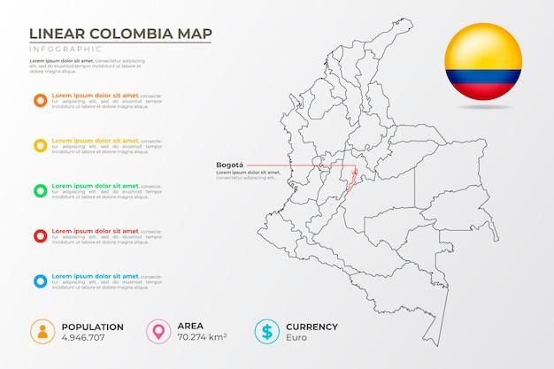 선형 콜롬비아지도 infographic 무료 벡터