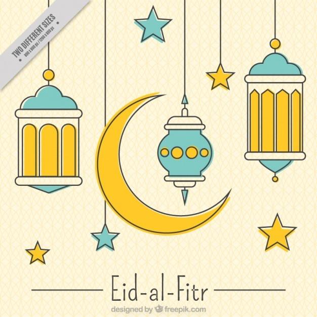 Linear decorative eid-al-fitr background Free Vector