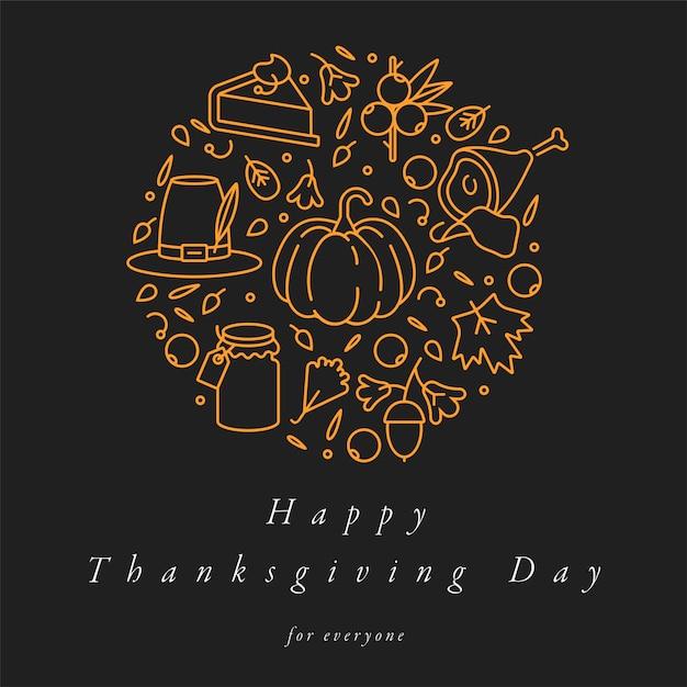 Линейный дизайн поздравительная открытка на день благодарения. типография и значок для осеннего фона праздник, баннеры или плакаты и другие печатные формы. Premium векторы