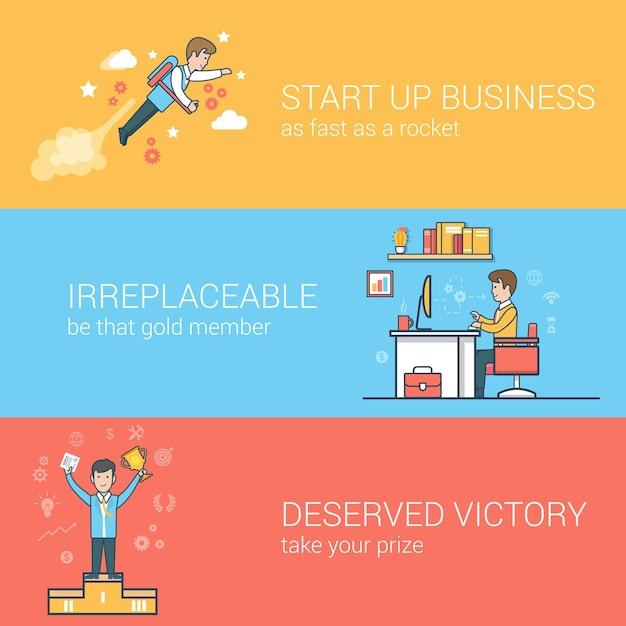 선형 평면 사업 시작, 대체 불가능한 직원, 성공 개념 설정. 사업가 비행 jetpack, 직장에서 작업자, 받침대에 승자 무료 벡터