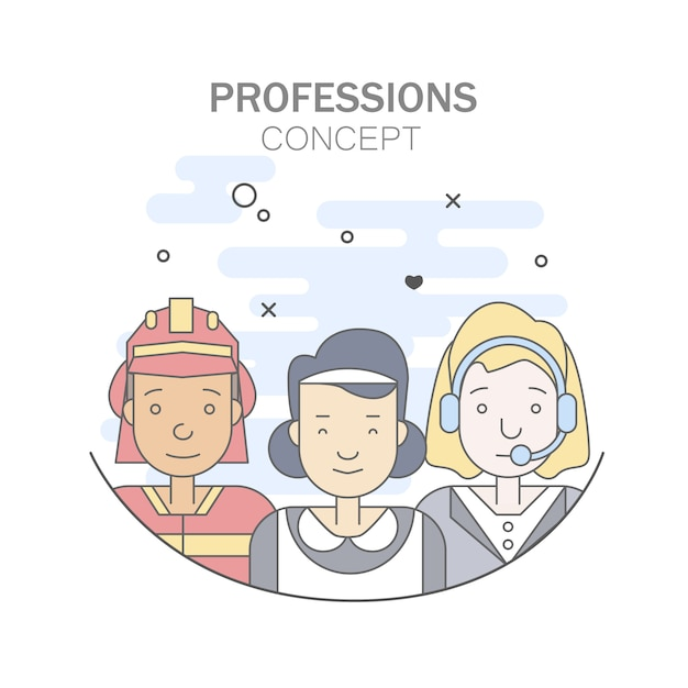 Linear Flat people faces and professions\ illustration.
