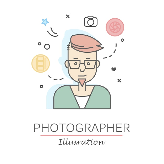 Linear flat people faces and professions illustration. Free Vector