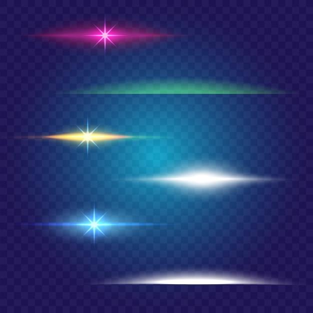 선형 광선 조명 효과. 브러쉬 세트. 초록 에너지, 선 색상 무료 벡터