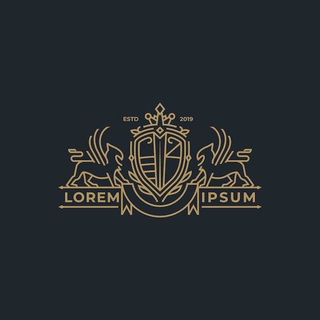 Linear heraldry coat of arms in line style Premium Vector