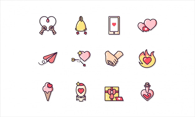 Linear icon set, related to saint valentine's day Premium Vector