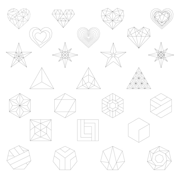 Linear illustration of geometric shapes Free Vector
