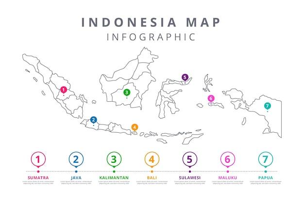 Линейная графика карты индонезии Бесплатные векторы