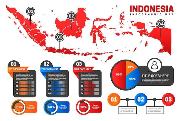 線形インドネシア地図インフォグラフィック 無料ベクター