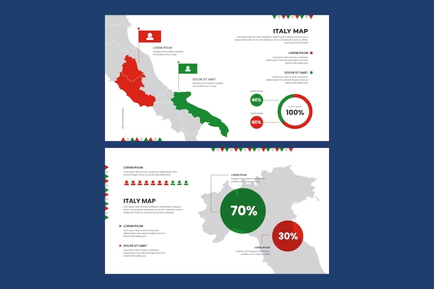 Linear infographic map of italy Free Vector