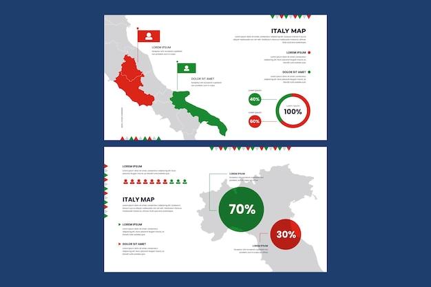 Линейная инфографическая карта италии Бесплатные векторы