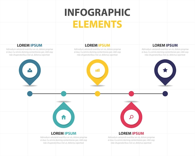 Linear infographics with 5 colors Free Vector