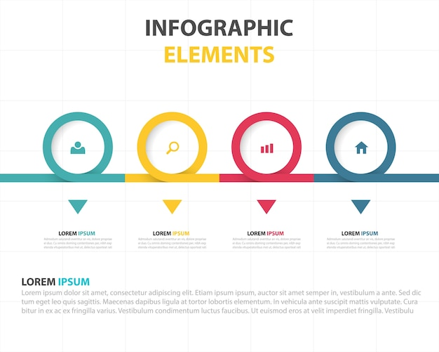 Linear infographics with colored circles Free Vector