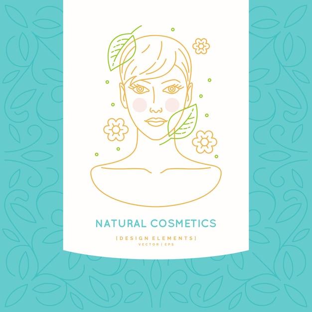천연 화장품에 대한 선형 라벨. 건강한 머리를 가진 여자 머리의 그림입니다. 프리미엄 벡터