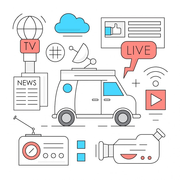 Linear mass media and broadcasting icons Free Vector