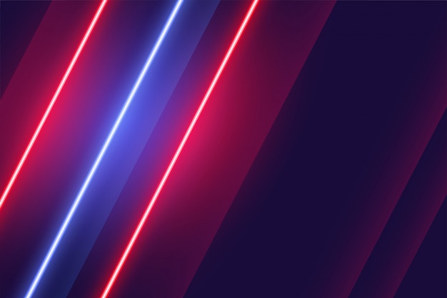Linear neon red and blue lights background design Free Vector