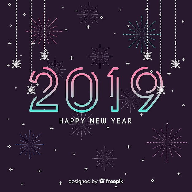linear new year background free vector