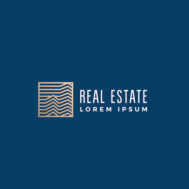 Linear real estate abstract  sign, symbol or logo template. Free Vector