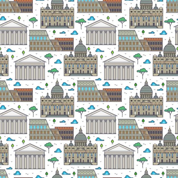Linear rome famous buildings seamless pattern Premium Vector